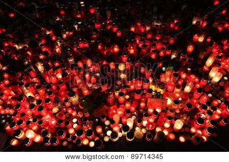 PRAGUE, CZECH REPUBLIC - DECEMBER 22, 2011: Candles alight in memoriam late Czech president Vaclav Havel in Wenceslas square in Prague, Czech Republic.