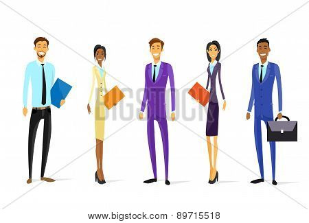 Business People Chartoon Character Group Diverse Team Standing