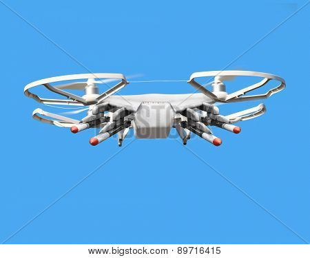 Drone with missiles. New technology for war. Digital artwork fictional vehicle on UAV theme.