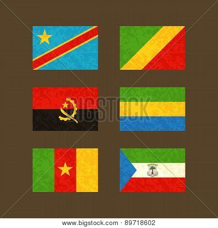 Flags Of Congo, Angola, Cameroon, Gabon And Equatorial Guinea