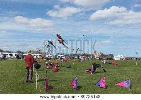Blyth, Nothumberland, Uk: 04 May 2015. Kites In Flight At Blyth Kite Festival 2015