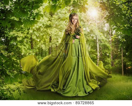 Fantasy Fairy Tale Forest, Fairytale Nature Goddess, Nymph Woman, Green Dress