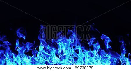 blue Burning Fire Flame On black Background