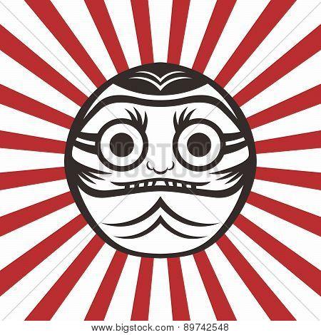Japan Warrior Daruma Doll character theme vector illustration poster