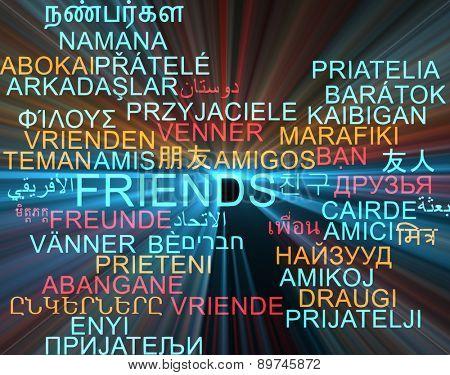 Background concept wordcloud multilanguage international many language illustration of friends glowing light