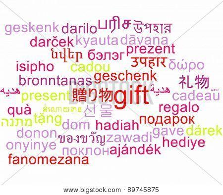 Background concept wordcloud multilanguage international many language illustration of gift