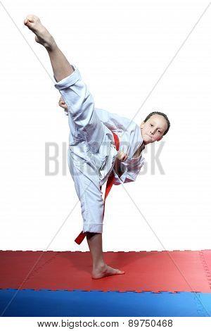 Little girl beats roundhouse kick leg