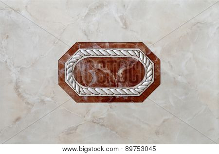 marble tile with decorum in the center
