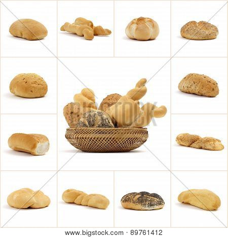 collage of bread on a white background