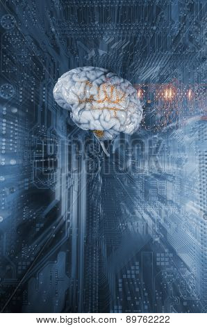 artificial intelligence and communication, human brain and computer-parts
