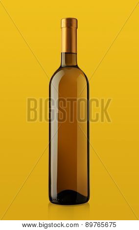Bottle Of White Wine On Yellow Background