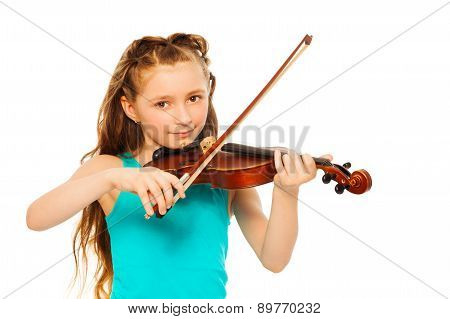 Small girl holding string and playing on violin
