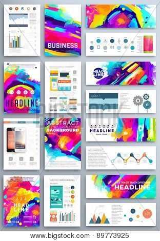 Set of Vector Poster Templates with Watercolor Paint Splash. Abstract Aquarelle Background for Business Flyers, Posters and Placards. Mobile Technologies Concept. Flat Style Web and Info graphic Icons.