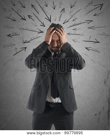 Worried stressed businessman