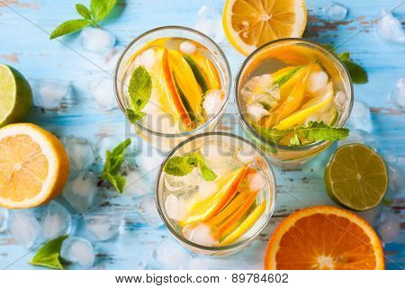 refreshing cold citrus water with mint.top view poster