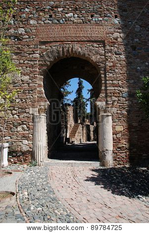 Column Gate in castle, Malaga.