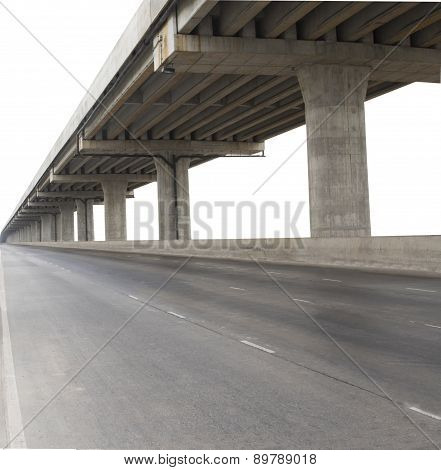 Concrete Structure Of Cement Bridge Isolated White Background Use For Civi Development And Infra Str