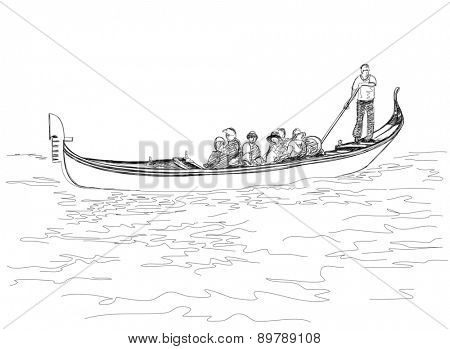 Venice. Italy. The gondoliers floats on a gondola with tourists. Black & white sketch