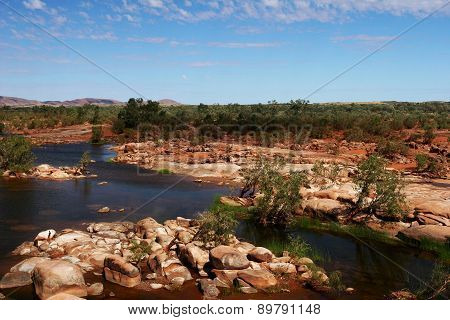 Rocky River Bed and Blue Sky Outback