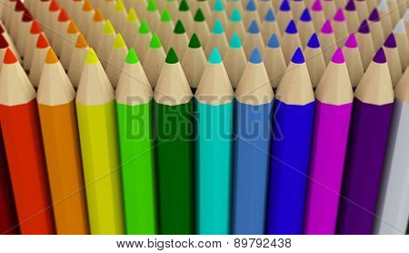 Several Rows Of Colored Pencils Isolated On White Background