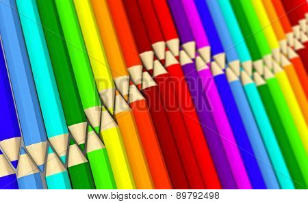 Two Rows Of Colored Pencils Lying Wave With Focus Effect