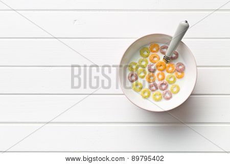 the milk with fruity cereal rings  poster