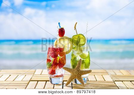 Fresh tropical cocktails on beautiful sunny beach