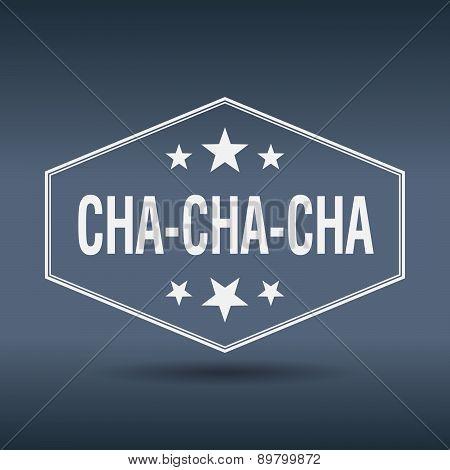 Cha-cha-cha Hexagonal White Vintage Retro Style Label
