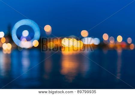 Defocused Blue Boke Bokeh Urban City Background Effect.