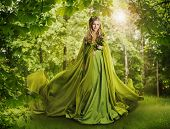 Fantasy Fairy Tale Forest Fairytale Nature Goddess Nymph Woman in Mysterious Green Dress poster