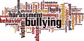 Bullying word cloud concept. Vector illustration on white poster