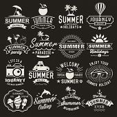 Summer logotypes set. Summer typography designs. Vintage design elements, logos, labels, icons, objects and calligraphic designs. Summer holidays. poster