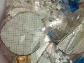 Silicon wafer scrap with protective blue sheet poster