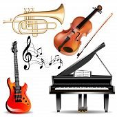 illustration set of musical instruments trumpet violin piano and guitar with notes poster