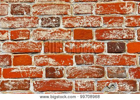 Wall Of Old Orange Shabby Bricks As Background Or Texture