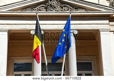 Belgium and European Union flags