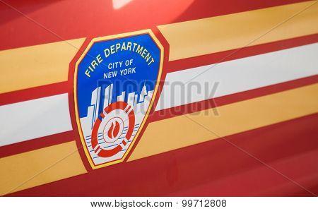 NEW YORK CITY, USA - SEPTEMBER, 2014: Fire department New York emblem