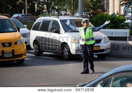 NEW YORK CITY, USA - SEPTEMBER, 2014: Traffic policewoman in New York City