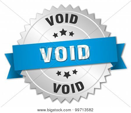 void 3d silver badge with blue ribbon