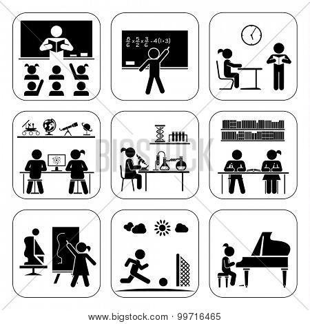 Children in school attending classes.  Doing maths, chemistry, art, playing piano, learning, doing sports. Vector illustration. Back to school. Pictogram icon set. School days.