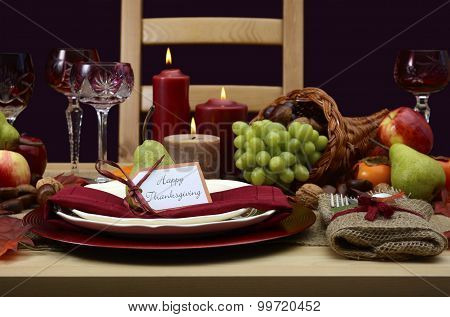Happy Thanksgiving Classic Table Setting.