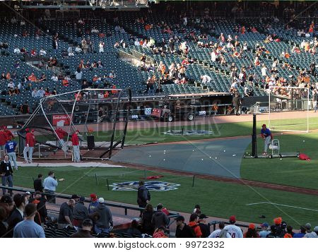 Philadelphia Phillies Taking Batting Practice Player Swinging At Incoming Throw From Coach