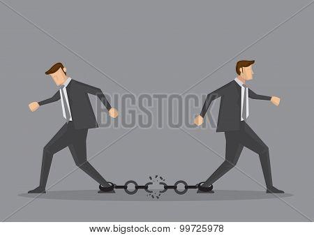 Businessmen Breaking Chain Link Vector Illustration