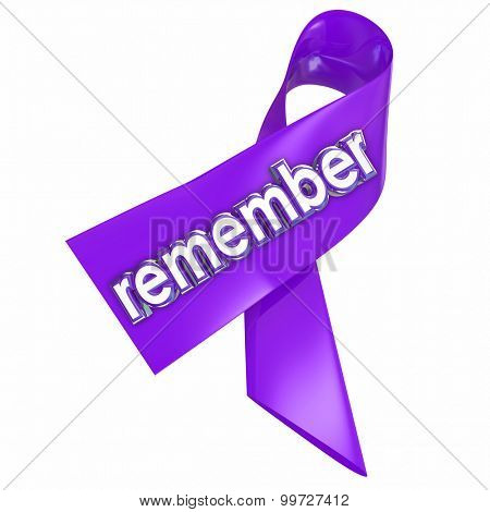 Remember word in 3d letters on a ribbon worn in memory of fallen or victims of disease or violence as an awareness or memorial campaign