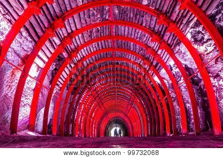 Underground multicolored tunnel at Salt Cathedral Zipaquira, is a main landmark. One impresive accom