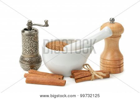 Cinnamon, Mortar And Pestle, Hand Grinder