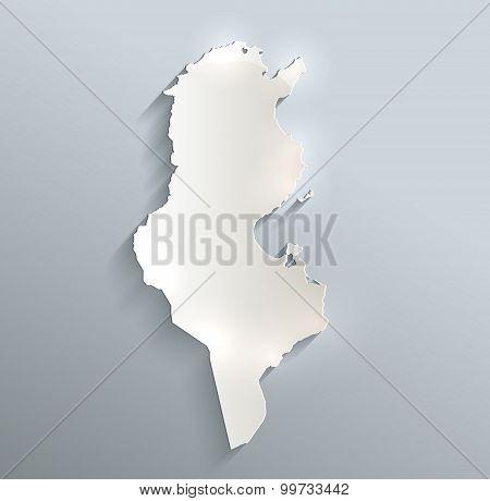 Tunisia map blue white card paper 3D raster