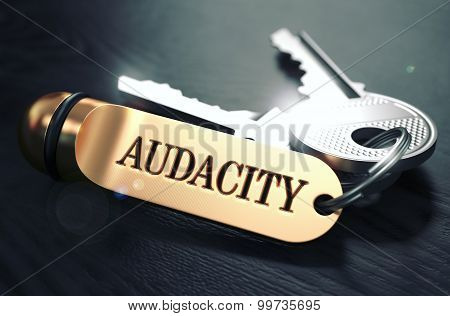 Keys with Word Audacity on Golden Label.
