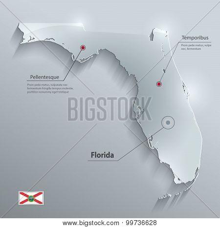 Florida map flag glass card paper 3D vector