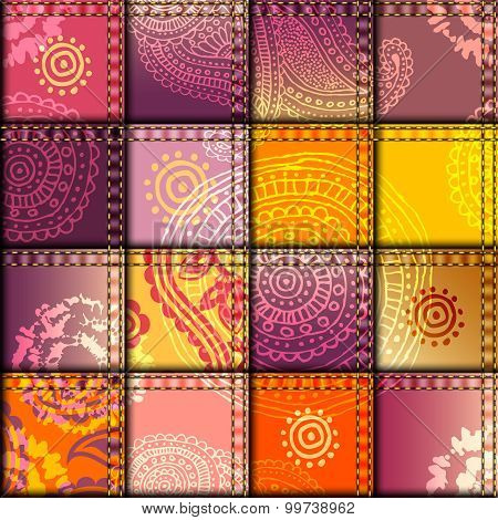 Seamless background pattern. Patchwork with orange fabric patches. poster